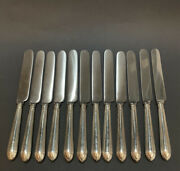 Good Set 12 English Antique Solid Silver Dinner Knives, 650g, 1916