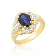1.60cts Natural Sapphire Ring 18k Fine Jewelry Diamonds Yellow Gold Ornament