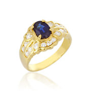 Natural Sapphire 1.25cts Ring Diamonds Gold Setting Fine Jewelry Retro Vintage