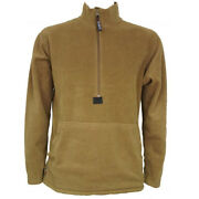 Usmc Fleece Pullover - Marine Corps Issue Coyote Brown Layer - Made In Usa - New