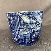"""James Kent """"old Foley"""" Blue And White Ribbed English Scene 5 1/2 Jardiniere Pot"""