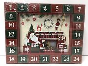 Light Up Advent Calendar Christmas Santa Gifts 24 Drawers Count Down Wooden Led