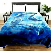 Soft Blanket With Dolphins Full Queen Size Luxury Mink 74 X 91 Inch - Rsenio
