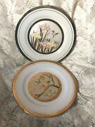 Two 2 Art Of Chokin Plates With Birds 24k Gold Trim Made In Japan
