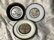 Three 3 Art Of Chokin Plates With Flowers 24k Gold Trim Made In Japan