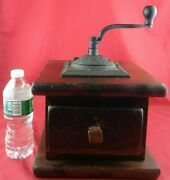 Large Vintage Hand Crank Wood And Iron Coffee Grinder 14 H