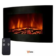 Electric Wall Mount Fireplace 35and039and039 Adjustable Heater Remote Flame Fire - Rsenio