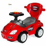 Push And Pull Ride On Car Red 3 In1 Kids On Stroller Buggy Handle Music Horn Sto
