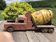 Structo Red Yellow Green Cement Mixer Pressed Steel Rare Piece Toy Needs Work