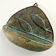 Holy Water Font Bronze Old Antique Hand Made Fish Patina