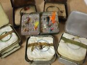 Vintage Fly Box / Cast Tin Collection X 6