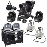 Baby Double Stroller With 2 Car Seat Twins Nursery Center 2 Swings Bag Combo Set