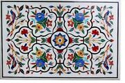30 X 48 Inches Marble Center Table Top Inlay Island Table With Multi Stone Art