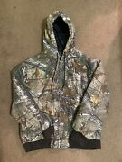 Realtree Camo Jacket Coat Mens L Tall Quilted Lined Hooded