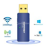 1300mbps Usb Bluetooth 4.2 Wifi Adapter Dual Band Dongle For Pc Computer Mac