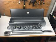 Armstrong 15-810 1 Drive / 12 Pt Socket Set And Drive Tools 17 Pc Set Made In Usa