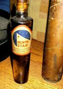 Rare 1950and039s North Star Gasoline Oil Company Bottle Jar With Original Container