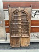 1800and039s Antique Wood Carved Brass Iron Work Old Castle 34 X 17and039and039 Old Jharoka Door