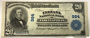 1902 20 National Currency Fr650 Indianapolis Indiana In Xf-au Condition