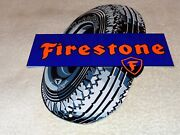 Vintage Firestone Gum Dipped Tires 12 Metal Tire Gasoline And Oil Sign Pump Plate