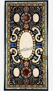 Island Table Top Handmade Crafts Marble Patio Table With Multi Color Stone Inlay