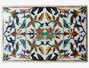 Handcrafted White Marble Island Table Top Mosiac Art Lawn Table With Inlay Work