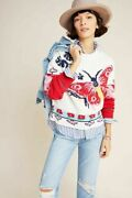 Anthropologie Aldomartins Camila Butterfly Knit Pullover Red Sweater Size Xs Nwt