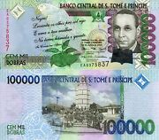 Sao Tome 100,000 Dobras Banknote World Paper Money Currency Pick P69 St Thomas