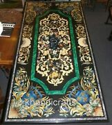 30 X 60 Inches Marble Hallway Table Hand Inlaid Dinette Table With Gemstones Art