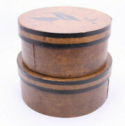 Xaiko Chicago Painted Bentwood Round Nesting Primitive Boxes Vtg Antique Style