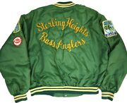 Vintage 70s Satin Jacket Chainstitch Bass Fishing Patches Mens L Tackle Lure