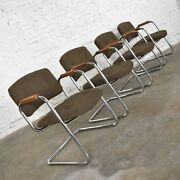 4 Cantilever Armchairs Chrome Brown W/ Wood Arms Style Steelcase Or Pollock 1970