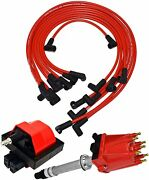 87 97 Chevy Gmc Tbi Distributor 8mm Spark Plug Wires E-core Ignition Coil Set