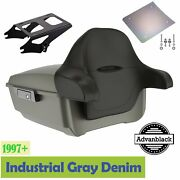 Industrial Gray Denim King Tour Pack Black Hinges Latch For 97+ Harley Touring