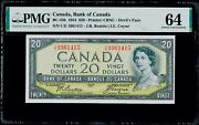 20 1954 Canada Bank Of Canada Deviland039s Face Pmg 64 Choice Uncirculated