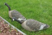 Pair Of Vintage Wicker Goose Decoys By An Unknown Maker Is In Fair Condition