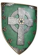 """Medieval Decor Wall Sculpture Warriors Shield With Celtic Cross, 18"""" Dt F20"""