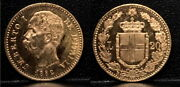 Italy 1882 Issued When King Umberto I Ruled-20 Lire-near Gold Value Gem Lustrous