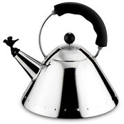 New Alessi Michael Graves Kettle With Bird Whistle Black