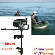 4-stroke 8 Hp Outboard Motor Boat Engine Hand Pull Air Cooling System Heavy Duty