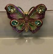 Jay Strongwater Butterfly Porcelain Tray W/24k Gold Trim New 5.5x7
