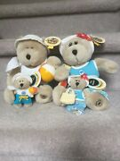 Rare Exclusive Starbucks Beach Boy And Girl Bear With Matching Magnets 2002 Mwt