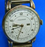 Movado Yellow Gold Filled 15 Jewels Manual Wind Wristwatch With Day And Month