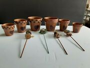 Rare Two 2 Sets Of Three 3 Boydand039s Bears Clay Flower Pots And Four Plant Sticks