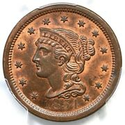 1854 N-26 R-3 Pcgs Ms 65 Rb Cac Braided Hair Large Cent Coin 1c