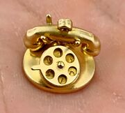 Vintage 10k Yellow Gold Old Rotary Phone Charm House Phone Antique Style