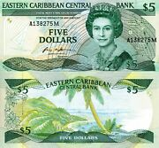 East Caribbean States 5 Dollar Banknote World Paper Money Currency Pick P18mm