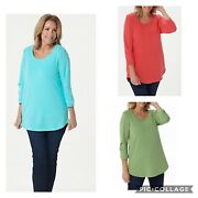 H By Halston French Terry Scoop-neck Tunic With 3/4- Pleated Sleeves A352995