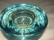 Kosta Boda Art Glass Bowl Clear And Blue Web Pulled Feather Vintage