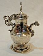 Colonial Hand Hammered Silver Church Water Cruet With Dragon Handle And Spout